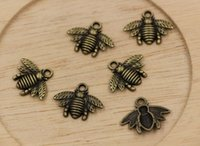 Wholesale Hot Antique Bronze Zinc Alloy Lovely Bee Charm Pendant x20mm
