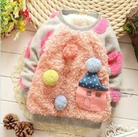 Spring / Autumn colored full housing - New autumn baby girl sweater pink white long sleeve colored ball small house sweater kids girls pullover sweater children sweaters