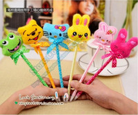 Wholesale Cute plush animal Pen cheap sale writting Ballpoint pen School Office Supplies lovely animals Pens Stationery changeable blue Cartridge SP02