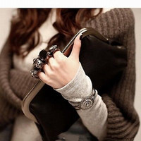 Wholesale Fashion Skull Knuckle Rings Black Handbag Clutch Evening Bag Pu Leather Purse