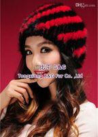Prezzi Wool hat-BG80119 2015Hot vendita Genuine pelliccia di visone Berretti donna Colorful Fashion folta pelliccia Cappello di Multicolor reale del cappello di pelliccia di lavoro a maglia di lana dentro