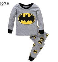 baby cartoon characters - Retail New Baby long sleeve Wear Kids minion Pyjamas Pijamas Children s Cartoon Batman Pajamas Boys Batman Printed Sleepwears Clothing sets