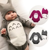 Cheap 2015 Kid Baby Infant Cartoon Romper with Hats Toddler Totoro Design Cute One-Pieces Bodysuits Rompers Boys & Girls Toddler Summer Clothing