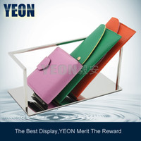 Wholesale YEON stainless steel leather wallet display holder purse rack fashion wallet shelf Iphone display rack for boutique
