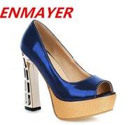 women fashion shoes large size - ENMAYER new high heeled Shoes women pumps Fashion Platform Pumps wedding Open Toe women shoes large size
