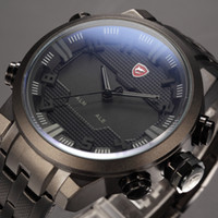 auto zone batteries - SHARK Luxury Brand LED Display Auto Date Day Relogio Masculino Black Alarm Analog Wristwatch Quartz Sport Military Men Digital Watch SH199