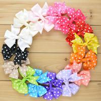 dot ribbon - Colors Polka Dot Ribbon Hair Bows Children Boutique Hairbows Baby Girls Hair Accessorise