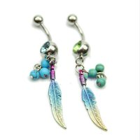 belly ring jewellery - M112 quot Colorful Feathers Shape Rhinestone Belly Ring Body Button Bars Jewellery