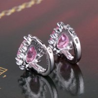 Wholesale Charming famous brand earrings k white gold plated unique earings pink sparkle stone zircon earrings E014c
