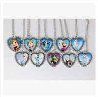Wholesale Hot selling styles newest frozen elsa necklace for kids elsa frozen Glass pendant necklace snow queen elsa children toy0354