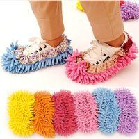 floor pads - FEDEX chenille shoe covers clean slippers lazy drag shoe mop caps x5x5