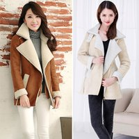 Wholesale Warm Fleece Winter Jacket Women Top Quality Suede Buckle Turn down Collar Jackets Zip Front Pocket Long Sleeve Woman Clothes G0760