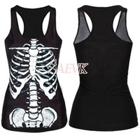 acrylic paint shirt - HOT DropShipping Women Summer Tops Painting Cool Pattern D Skull bone Camisole Sexy print Vest Tanks Tops shirt b9 SV002015