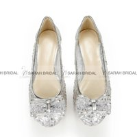 beautiful evening shoes - Fashion Dress Shoes Round Toe Flat Heels Beautiful Lace Bow Silver Women Office Evening Party Cocktail Wedding Bridal Accessories Cheap
