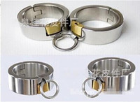 bondage gear - Pure Stainless Steel Handcuffs with Lock Super Heavy oval shaped fetter shackles Heavy Manacles Bondage Gear