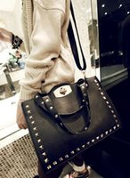 large handbags - 2015 spring new style Women All match Pu leather Large Handbag Fashion handbags bags Rivet shoulder bags G lady messenger bag