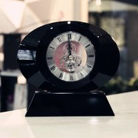 antique modern cabinets - Fine black crystal glass clock clock practical TV Cabinet Bookcase oval table decoration