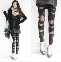 Wholesale Leggings Pants Fashion Women Clothes Personality Transparent Gauze Skinny Soft Ninth Pants Polyester Pencil Pants SL005