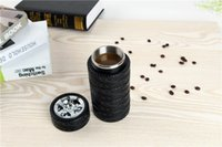 plastic cup with lid - Tyre Tire Design Creative Coffee Tea Mug Stainless Steel Interior Plastic Exterior Travel Thermal Cup Black mm mL