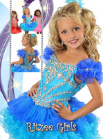 toddler pageant dresses - Bright blue pink puffy organza crystals short pageant dresses for toddlers bubble Baby girl Pageant Dress for infant former dresses