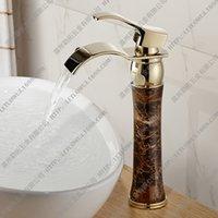 antique lavatory faucets - All European antique copper faucet bathroom hot and cold faucet lavatory basin jade gold faucet restoring ancient ways