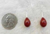 aa bulk - jewelry bulk TEARDROP RED CORAL STERLING SILVER DANGLE EARRINGS JEWELRY YL097 AA jewelry tray and pad