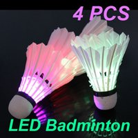 Wholesale 4 Colorful LED Shuttlecocks Glow in the Dark Night Badminton Feather Shuttlecock Battery Operated New BHU2