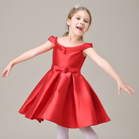 Cheap Red Satin Cute Flower Girl Dresses Real Photo Knee Length Cap Sleeve First Communion Dresses for Girls Winter Style Birthday Party Dress
