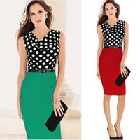 access point - 2014 Hot selling network access point wave knit sleeveless dress Women OL package hip V neck dress With Belt