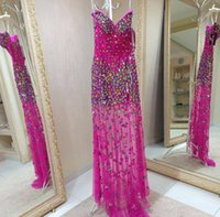 real diamonds - Hot Sale Real sample Sweetheart Diamond beaded Chiffon Long Luxury pink Formal Evening Gowns