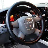 Wholesale 1pcs Black Red DIY Car Steering Wheel Cover With Needles and Thread Artificial leather High Quality