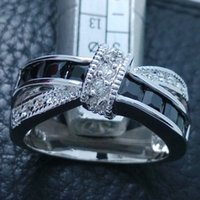 Cheap Luxury Size6-9 Luxury jewelry 925 silver filled black sapphire gemstones wedding Ring