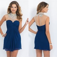 ab mesh - 2015 Homecoming Dresses Prom High Neck with AB Stones and Crystals Sheer Mesh Top Short Hollow Back Midnight Blue Chiffon Cocktail Dresses