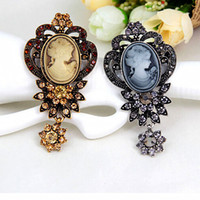 beautiful cameo - Vintage Stylish Elegant Brooch Fashion Crystals Beautiful Lady Cameo Broach Detailed Pins Ausrtian Crystals Pendent Drop women pin brooches