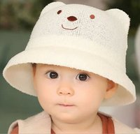 beautiful baby winter hats - New Fashion Spring Summer children Baby Multicolor Sun Hats Kids visor Bucket Hats lovely Beautiful baby hats Bear Style
