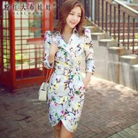 belted puff coat - Dabuwawa Lady s Elegant Floral Printed Long Sleeve Lapel neck Double Line Golden Buttons Coat With Belt