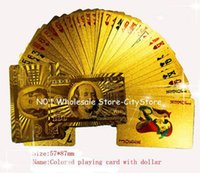Wholesale sets Gold foil plated playing cards Plastic Poker US dollar Euro Style and General style With Certificate