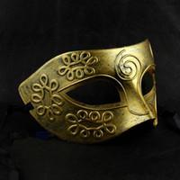 ancient roman dress - Men s retro Greco Roman Gladiator Glitter fancy dress Ancient Greek and Roman fighter Masquerade mask new Mens Halloween Costume Party Mask