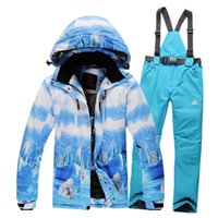Wholesale High End Quality Women s Ski Suit Set Skiing Jacket Pants Outdoor Windproof Waterproof Thermal Thickening Monoboard