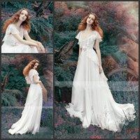 Wholesale HY Vestidos Silky Chiffon Wedding Dresses Short Juliet Sleeves Sheer Backless Elegant V Neck Long Bridal Gown Made In China