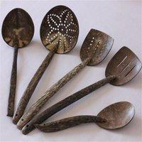 Cheap Guaranteed 100% 5pcs set Natural coconut shell carving spatula kitchen cooking tools set wooden spatula for cooking