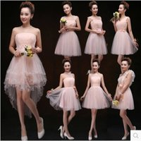 Cheap 2015 Wedding dresses Custom Summer strapless lace-up short front long back beaded chiffon short party prom dresses WD002 Bridesmaid dress