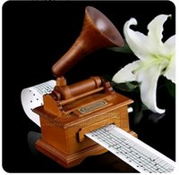 Wholesale New arrival Hot sale DIY wooden hand tape graphophone music box gift Hand cranked swivel birthday gift