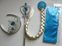Wholesale Frozen Princess Elsa Anna Girl Magic Wand Crown Brithday Gift set Magic Wand Rhinestone Hair Crown Glove Hair Braid