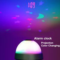 Wholesale Mini Digital alarm clock Color changing Projection Starry starry night Desk table clock home decoration Novelty household