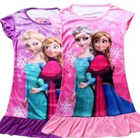 Wholesale In Stock Hot Sale summer girls dresses elsa anna Princess patterns children nightdress Cartoon Cotton kids pajamas dress sleepwear