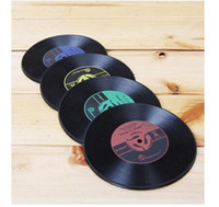 Wholesale Top quality Retro Vinyl Record Drinks Coasters Vinyl Coaster Cup Mat Pads Tableware Pad Placemat Cup Bowl Insulation Mat