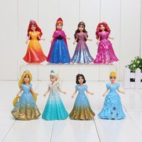 Wholesale 8pcs PVC Princess Cinderella Elsa Anna Action Figure set doll dress can change clothes Classic Toys kids toys for girl size in CM
