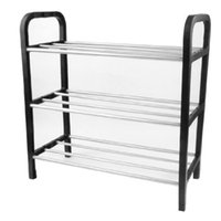 Wholesale FS Hot Black Plastic Stand Silver Tone Tube Design Tier Shoes Rack order lt no track
