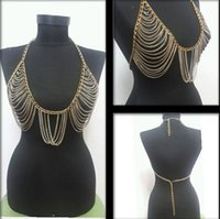 Wholesale Women Body Chains k Gold plated Bikini Belly Chains Punk Style Fashion Accessories Body Jewelry Women Necklaces Multilayer Tassel